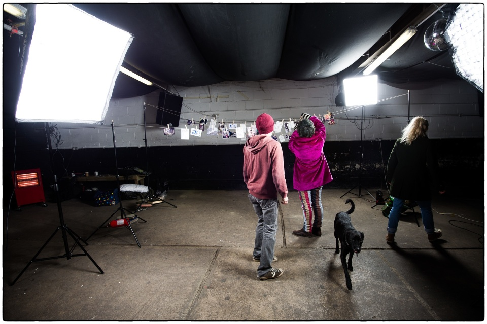 Setting up at the HUB in Leeds for 154 Collective photo shoot :: photo copyright Richard Hanson