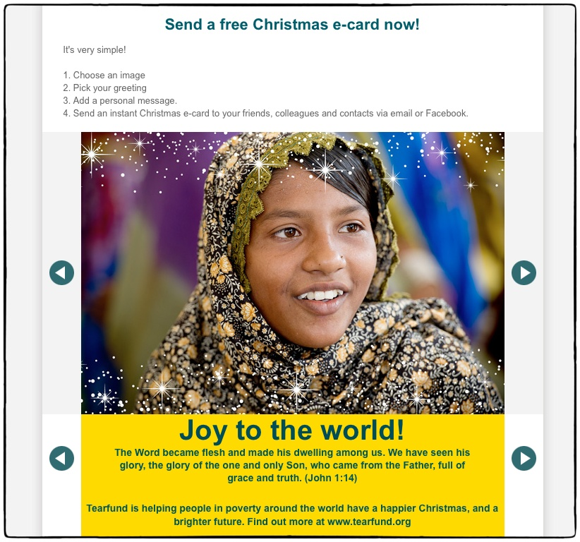 Tearfund Christmas e-card - photo by Richard Hanson for Tearfund