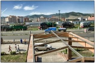 Trans Siberian express outside the front door of my hotel, Ulaanbaatar, Mongolia, 2007 :: copyright Richard Hanson